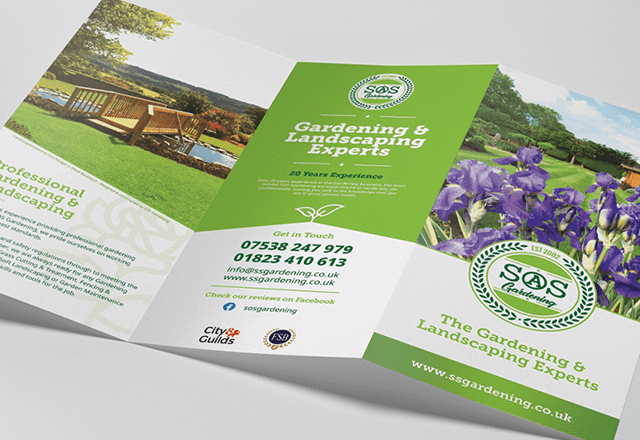 SOS Gardening Tri-fold Services Leaflet